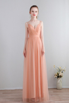 Αμάνικο Λαιμόκοψη V Μέχρι τον αστράγαλο Οι πτυχωμένες μπούστο Παράνυμφος φορέματα