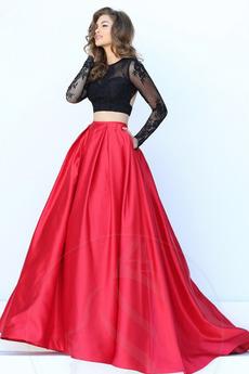 Φθινόπωρο Δαντέλα επικάλυψης Κόσμημα εξώπλατο Μπάλα φορέματα