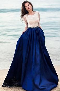 Γραμμή Α Φερμουάρ επάνω Ντραπέ Δαντέλα επικάλυψης Μπάλα φορέματα