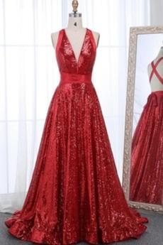 Μπάλα φορέματα Λάμψη Φυσικό Γραμμή Α Χάνει Λαιμόκοψη V Αμάνικο