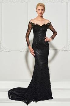 Δαντέλα επικάλυψης Καθαρή πλάτη Φυσικό Άνοιξη Βραδινά φορέματα