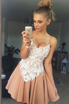 Τιράντες σπαγγέτι Αμάνικο Δαντέλα Άνοιξη Κοκτέιλ φορέματα