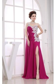 Γραμμή Α Ασύμμετρη λαιμό Σιφόν Κομψό Χαμηλή Μέση Μπάλα φορέματα