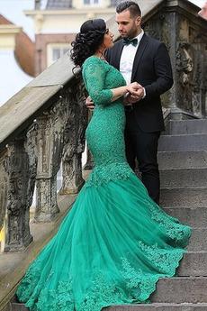 Μακρύ Μανίκι Χάντρες Άνοιξη Πολυτελές Κοντομάνικο Βραδινά φορέματα