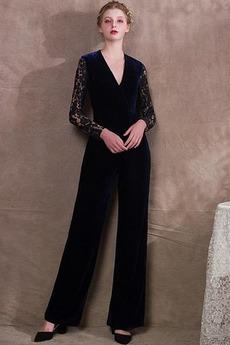 Φυσικό Μικροκαμωμένη Δαντέλα Λαιμόκοψη V Βραδινά φορέματα