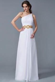 Ένας Ώμος Διακοσμημένες με χάντρες ζώνη Άνοιξη Μπάλα φορέματα