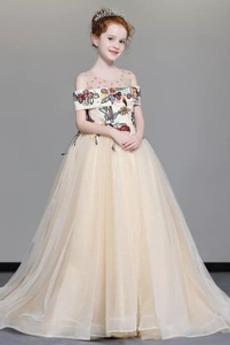Κεντήματα Πολυτελές Γραμμή Α Κοντομάνικο Λουλούδι κορίτσι φορέματα