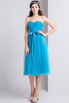 Ντραπέ Τονισμένα τόξο Μέχρι το Γόνατο αγαπημένος Παράνυμφος φορέματα
