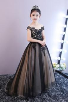 Γραμμή Α Δαντέλα Μακρύ Προσαρμοσμένες μανίκια Λουλούδι κορίτσι φορέματα