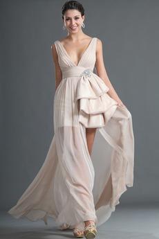 Ασύμμετρη Αμάνικο Τούλι επικάλυψης Σιφόν Μπάλα φορέματα