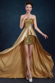 Χάνει Φερμουάρ επάνω Ασύμμετρη Ελαστικό σατέν Βραδινά φορέματα