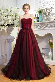 Χάντρες Κομψό Γραμμή Α Φυσικό Άνοιξη Τούλι Μπάλα φορέματα