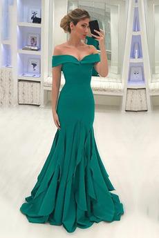 Μπάλα φορέματα Προσαρμοσμένες μανίκια Μήκος πατωμάτων Φυσικό Φερμουάρ επάνω