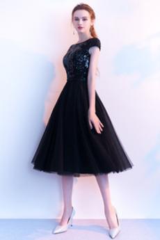 Γραμμή Α Τούλι Κοντομάνικο Από τον ώμο παγιέτες μπούστο Μπάλα φορέματα