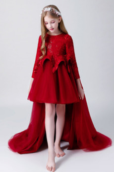Κόσμημα Ασύμμετρη Φερμουάρ επάνω Κοντομάνικο Λουλούδι κορίτσι φορέματα