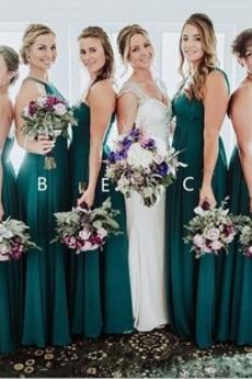 Πλισέ Χάνει Καλοκαίρι Αμάνικο Μήκος πατωμάτων Παράνυμφος φορέματα
