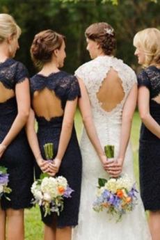 Αχλάδι Θήκη Κλειδαρότρυπα πίσω Κεντήματα Παράνυμφος φορέματα