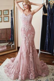 Μακρύ Τούλι Χάνει Φερμουάρ επάνω Ντραπέ Έτος 2019 Βραδινά φορέματα