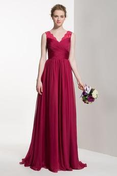 Φερμουάρ επάνω Δαντέλα Ντραπέ Φυσικό Αμάνικο Παράνυμφος φορέματα
