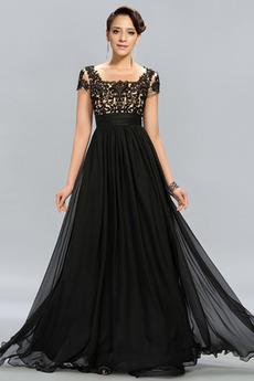 Φυσικό Δαντέλα επικάλυψης Κοντομάνικο Καλοκαίρι Βραδινά φορέματα