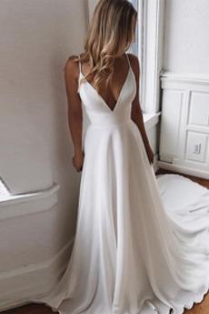 Βραδινά φορέματα Μακρύ Χάντρες Φυσικό Φερμουάρ επάνω Δαντέλα Λαιμόκοψη V