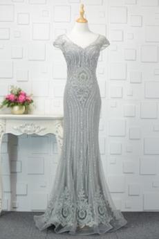 Λαμπερό Χαμηλή Μέση Κοντομάνικο Κόσμημα τονισμένο μπούστο Βραδινά φορέματα