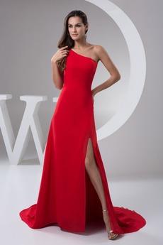 Ασύμμετρη λαιμό Καλοκαίρι Αμάνικο Χάνει Γραμμή Α Βραδινά φορέματα