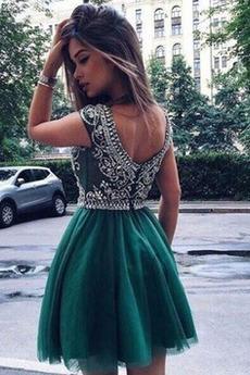 Τούλι Γραμμή Α Φερμουάρ επάνω Έτος 2019 Αμάνικο Κοκτέιλ φορέματα