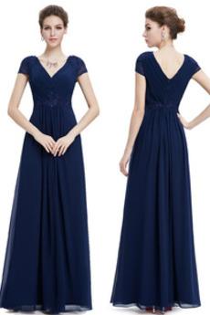 Φερμουάρ επάνω Πολυτελές Κοντομάνικο Φυσικό Βραδινά φορέματα