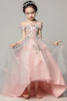 Κοντομάνικο Φερμουάρ επάνω Τραίνο σκουπισμάτων Λουλούδι κορίτσι φορέματα