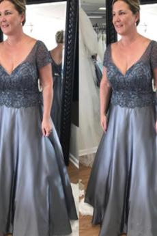 Μητέρα φόρεμα Φυσικό Κοντομάνικο Σατέν Επίσημη Κόσμημα τονισμένο μπούστο