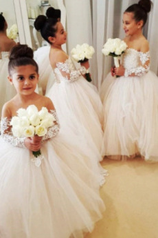 Λουλούδι κορίτσι φορέματα Γραμμή Α Καθαρή πλάτη Φυσικό Χάνει Μήκος πατωμάτων