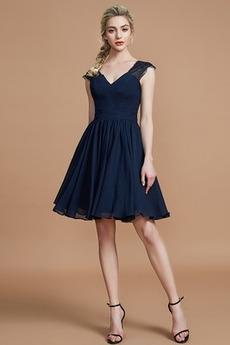 Φυσικό Γραμμή Α Ντραπέ Πολυτελές Λαιμόκοψη V Παράνυμφος φορέματα