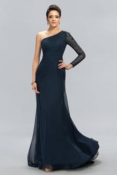 Δαντέλα Φυσικό Γοργόνα Ασύμμετρα μανίκια Βραδινά φορέματα