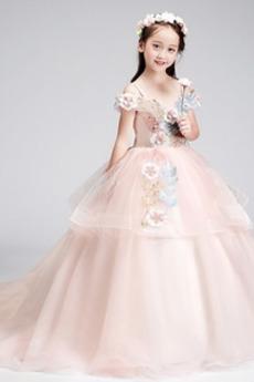 Τραίνο σκουπισμάτων Διακοσμητικά Επιράμματα Λουλούδι κορίτσι φορέματα