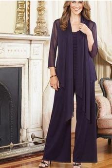 4 Μήκος Μανικιού Υψηλή καλύπτονται Σιφόν Παντελόνι κοστούμι φόρεμα