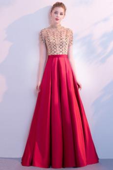Χάντρες Κοντομάνικο Καθαρή πλάτη Φυσικό Επίσημη Μπάλα φορέματα
