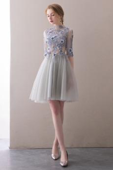 Υψηλός λαιμός Φυσικό Ψευδαίσθηση Μισό Μανίκι Κοκτέιλ φορέματα