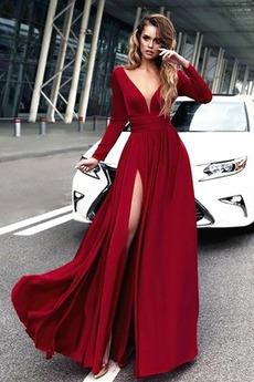 Μπροστινό Σκίσιμο Κοντομάνικο Βαθιά v-λαιμός Βραδινά φορέματα
