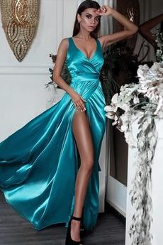 Μήκος πατωμάτων Λαιμόκοψη V Γραμμή Α Μπροστινό Σκίσιμο Βραδινά φορέματα