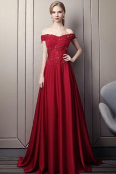 Σατέν Από τον ώμο Γραμμή Α Έτος 2020 Τραίνο σκουπισμάτων Βραδινά φορέματα