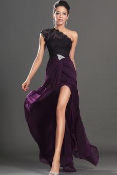Πολυτελές Φυσικό Σιφόν Ένας Ώμος Τα μέσα πλάτη Μπάλα φορέματα