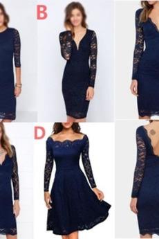 Λαιμόκοψη V Βαθιά v-λαιμός Δαντέλα επικάλυψης Παράνυμφος φορέματα