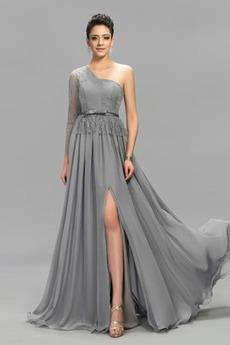 Αχλάδι Μακρύ Μανίκι Σιφόν Φυσικό Ένας Ώμος Βραδινά φορέματα