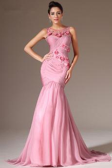 Αχλάδι Σιφόν Πλισέ Αμάνικο Τονισμένα ροζέτα Βραδινά φορέματα
