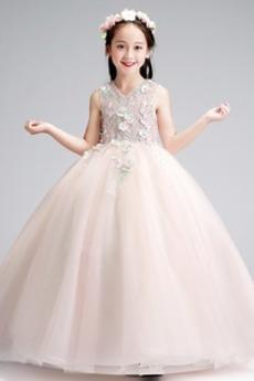 Γραμμή Α Επίσημη Αμάνικο Φυσικό Άνοιξη Τούλι Λουλούδι κορίτσι φορέματα
