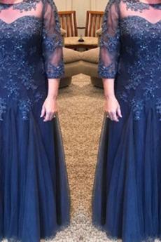 Μητέρα φόρεμα Γραμμή Α Δαντέλα επικάλυψης Τούλι Ψευδαίσθηση Κόσμημα