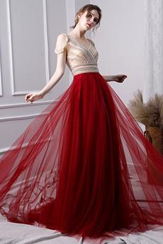 Λαιμόκοψη V Αμάνικο Προσαρμοσμένες μανίκια Μπάλα φορέματα