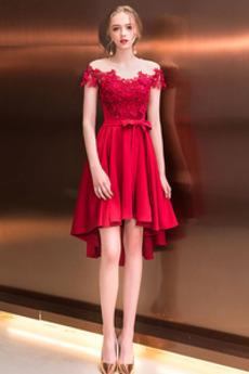 Ασύμμετρη Δαντέλα υψηλή Χαμηλή Αμάνικο Ασύμμετρη Κοκτέιλ φορέματα