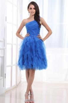 Ένας Ώμος Τούλι Πριγκίπισσα Πλισέ Μικρό Οι πτυχωμένες μπούστο Βραδινά φορέματα